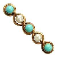 Precious Victorian 14K Gold Collar Bar Pin w/ Turquoise - Pearls