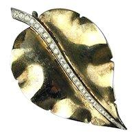 Vintage Nettie Rosenstein Sterling Silver w/ Rhinestones Leaf Pin