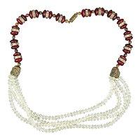 Unusual Art Deco Bead Necklace - Carnelian w/ Multi Crystal Strands