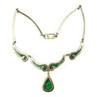 Vintage Mexican Sterling Silver Inlaid Malachite Necklace Taxco