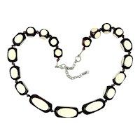 Vintage Encased White in Black Modernist Bead Necklace - Pop Art Era
