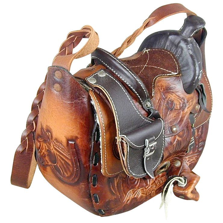 Vintage Western Saddle Hand Tooled Leather Handbag Shoulder Bag Horses