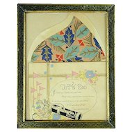Art Deco 1932 Framed ~ TO MY DAD ~ Greeting Card Golf Clubs Litho
