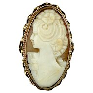 Art Deco Era 14K Gold Carved Shell Cameo Ring - A Long Oval Beauty
