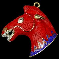 Vintage Chinese Cinnabar - Cloisonne Enamel Horse Pendant
