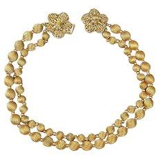 Vintage Robert DeMario Gilt Bead Necklace w/ Beaded Flower Clasp