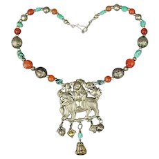 Antique Chinese Silver Qilin w/ Beads Pendant Necklace Amulet - Red Tag Sale Item