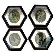 1950s Hollywood Regency Set of Four Romantic Wall Prints Framed