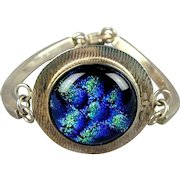 Sterling Silver Blue Green Opalescent Stone Bracelet Electric Colors