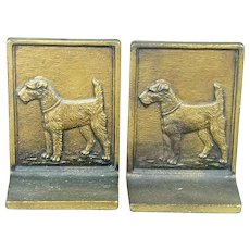 Pair 1920s B & H Gilded Cast Iron Terrier Dog Bookends
