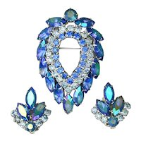 Sarah Cov Aurora Borealis Rhinestone Pin Earrings Set