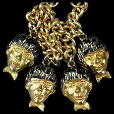 Vintage 1964 Beatles Figural Heads Charm Bracelet