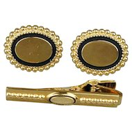 Vintage Anson 12K Gold-Filled Cufflinks Tie Clasp Clip Set