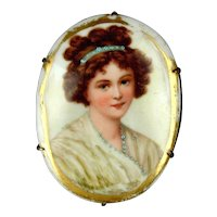 Victorian Hand-Painted Porcelain Pin - Pretty Lady - What a Face