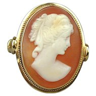 Art Deco Era 18K Gold Carved Shell Cameo Ring - Pretty Lady