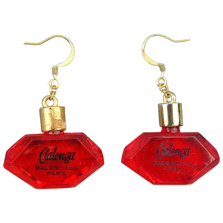 authentic quality pick up speical offer Vintage Balenciaga Lucite Cialenga Perfume Bottle Earrings