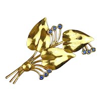 Modernist Gold Vermeil on Sterling Silver Floral Pin