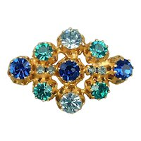 Vintage Austrian Crystal Gilded Pin Brooch All Shades of Blue