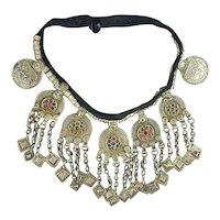 Vintage Tribal Ethnic Necklace Coins Glass Big Bib Collar