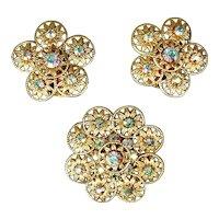 Vintage Pin & Earrings Set - AB Rhinestones in Gilt Filigree