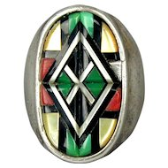 Vintage Sterling Silver Ring w/ Bold Inlay Stone Design