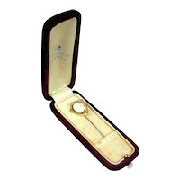 Victorian 10K Gold Cameo Stick Pin in Box - Carved Coral Shell