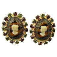 Vintage HOBE Glass Cameo Clip Earrings - Rhinestones
