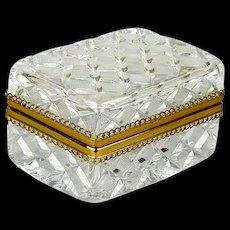 Vintage Italian Cut Crystal Ormolu Casket Box Etched - Beveled