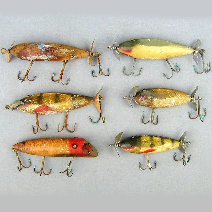 6 Old Wood Fishing Lures w/ Glass Eyes