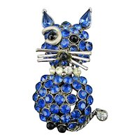 Vintage Rhinestone CAT Pin Singin' The Blues