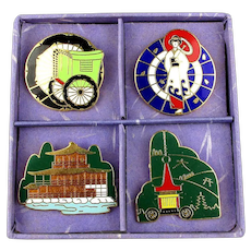 Vintage 4 Japanese Enamel Pins Kyoto Prefecture Boxed Set