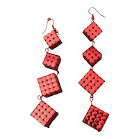 Vintage 1970s Red Cube Dangle Earrings - Metallic 5-Inch Marvels