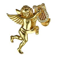 Vintage Signed Givenchy Angel Pin - Cherub Playing Rhinestone Harp