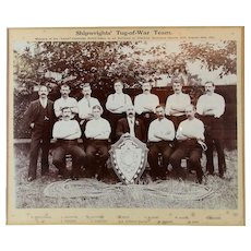 Victorian 1911 Framed Photo SHIPWRIGHTS Tug-of-War Team Winners Chatham Dockyards - Red Tag Sale Item