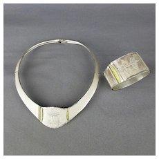 Vintage Sterling Silver Necklace Bracelet Set - Superb Minimalist Japanese Aesthetic