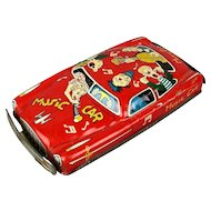 Vintage 1950s Tin Litho Friction Toy Car MUSIC CAR