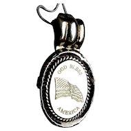 Vintage Sterling Silver Pendant Necklace ~ God Bless America ~ Flag