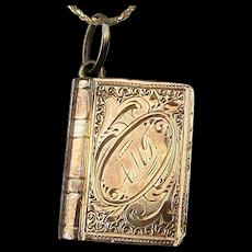 Victorian 14K Rose Gold Enamel Photo Locket Pendant