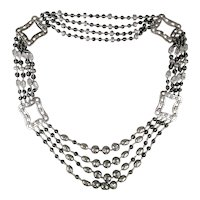 Crazy Huge Necklace - Silver-Tone Metal w/ Glass & Filigree Beads