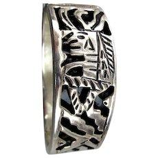 Vintage Taxco Sterling Silver Hinge Bracelet Aztec Cut Design w/ Enamel