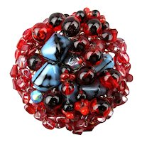 Big 1950s Beaded Glass Pin Brooch - A Mound of Gorgeous