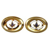 Vintage Anson Gold-Plated Enamel MASONIC Cufflinks