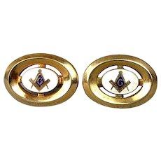 Vintage Anson Gold-Plated Enamel MASONIC Cufflinks