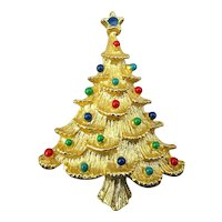 Vintage Eisenberg Ice Christmas Tree Pin w/ Jewel Balls