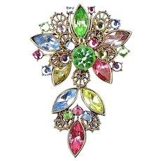 Vintage WEISS Multi Color Austrian Crystal Pin Brooch c1950