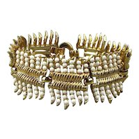 Crown Trifari 1950s Faux Gold Glass Bead Bracelet