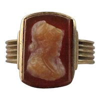 Quaint Victorian 14K Gold Ring Carnelian Carved Cameo Lady