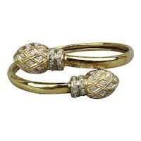 Vintage Two-Headed Snake Bracelet Sterling Silver Vermeil Crystals