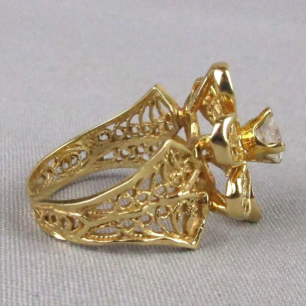 Vintage 14K Gold FLOWER Ring W/ Faux Diamond