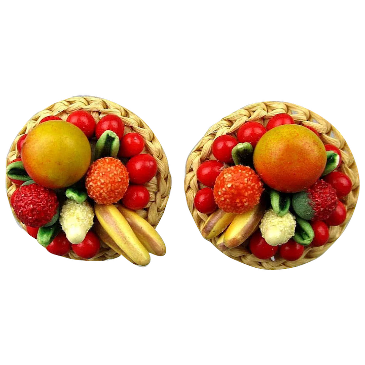 Made in Hong Kong Vintage Clip-on Earrings 1950s Red Fruit Salad